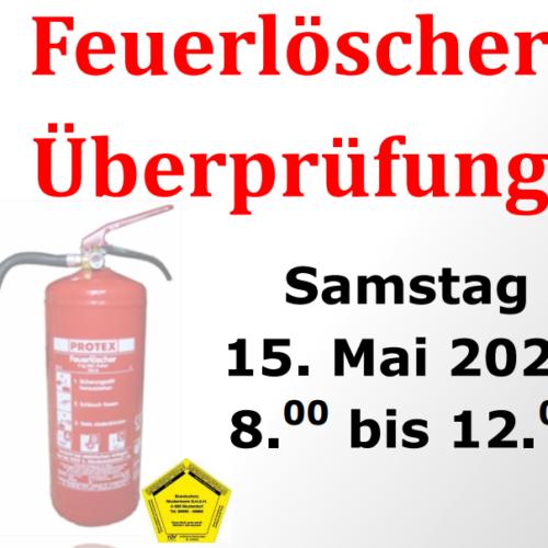 Feuerlöscherüberprüfung 15. Mai 2021 8:00 -12:00